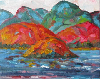 """Landscape I, 8"""" x 8"""" (20 x 20 cm) oil on canvasboard, original painting. Mountains. Lake. Yvonne Wagner. Berg.  Montagne. Framed. Coulore."""