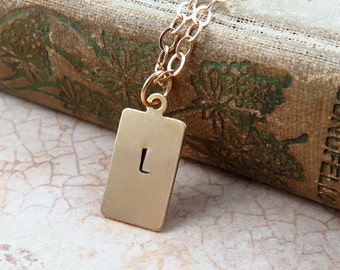 Gold Initial Necklace, Gold Bar Necklace, Hand Stamped Jewelry, Initial Bar Necklace, Gift for Grandma, Gift for new mom