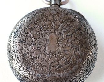 Ornate Engraved Silver Antique Pocket Watch Beautiful Design .935 Silver Victorian Edwardian Vintage 1800s