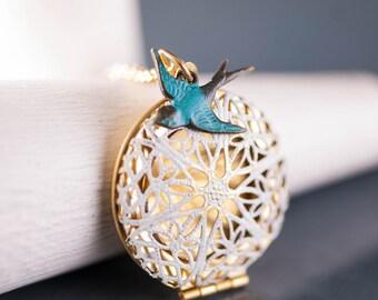 White Locket Floral Charm Necklace, Blue Bird Necklace, Shabby Chic Locket, Turquoise Bird Necklace, Filigree Locket, Blue and White Wedding