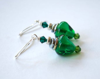 Bright Green Earrings, Christmas Light Bulb Earrings, Lampwork Glass Earrings, Stocking Stuffer, Festive Holiday Jewelry
