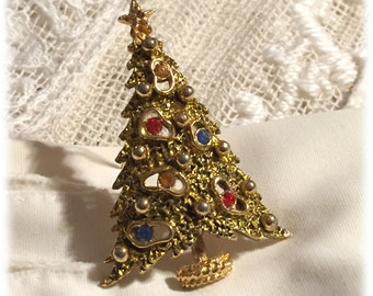 Art Christmas Tree Brooch Pin with Red Blue Green Stones, Mid-Century Kitsch Jewelry