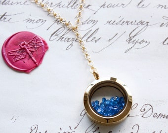 Floating Glass Keepsake Memory Shake Locket Y Necklace w/Sparkling Diamond Cut CZs - Stainless Steel, Yellow Gold, or Rose Gold Plated