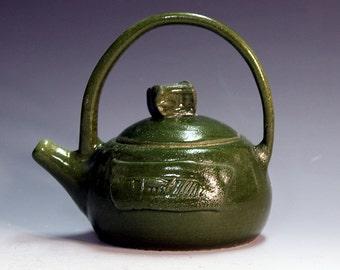 Teapots handmade porcelain teapots ,hunter green ceramic and pottery hunter green colour, porcelain teapots