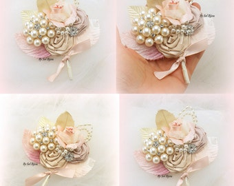 Brooch Boutonnieres, Blush, Rose, Champagne, Ivory, Corsages, Groom, Groomsmen, Vintage Wedding, Button Hole, Mother of the Bride, Pearls