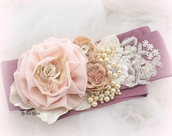 Sash, Ivory, Champagne, Tan, Blush, Mauve, Gold, Elegant Wedding, Vintage Style, Bridal Sash, Lace, Chiffon, Pearls, Crystals