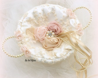 Wedding Ring Tray, Rose, Blush, Champagne, Ivory, Ring Bearer Tray, Vintage Wedding, Elegant, Alternative Pillow,Round Tray, Lace Ring Tray