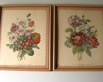 Vintage 1940s pink floral pictures Pair of shabby style pink frame pictures