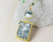 50 OFF SALE Moss Druzy Necklace – Moss Agate – Green Chrysoprase Chain