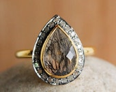 CLEARANCE SALE Gold Black Rutilated / Tourmalinated Quartz Ring - Pave Diamonds Ring - Teardrop, Luxury Ring