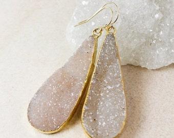 50% OFF Neutral Teardrop Druzy Earrings – Choose Your Druzy – 14k Gold Fill or Oxidized Silver