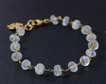 20% OFF Rainbow Moonstone Gemstone Bracelet – Choose Your Charm
