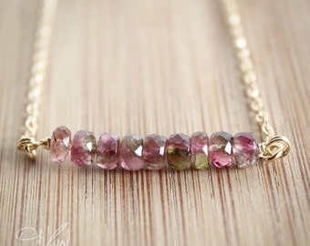 40 OFF SALE Watermelon Tourmaline Necklace - Juicy Pink and Melon Green - 14K Gold Fill, Rare