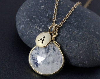 Rainbow Moonstone Initial Necklace – Select Your Initial Charm