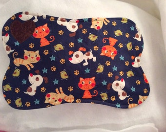 Dog Bone Placemat  Reversible Cotton Quilted Blue Cats Dogs Print