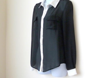 Sheer Blouse - Black - White Collar - White Cuffs - Chest Pockets - Long Sleeved - Vintage - Ooh La La - French Style - Recycled