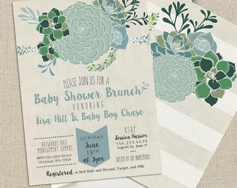 Baby Boy Shower Invitation - Succulents Digital Printable File