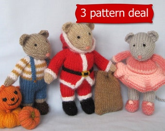 Pip, Santa and and Darcy - 3 knitting patterns - INSTANT DOWNLOAD