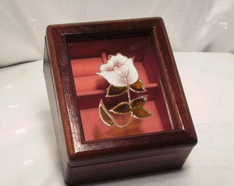 Vintage Jewelry Box Wood with Stained Glass-like Rose Lid