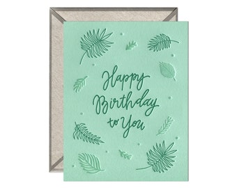 Birthday Ferns letterpress birthday card