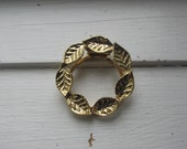 Vintage Gold Tone Botanical Scarf Ring - Classic Wreath of Leaves - Vintage Costume Scarf Ring - Tiny, Shiny Leaf