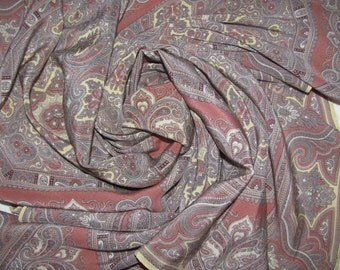 Vintage Allea Large Square Silk Scarf - Paisley Print in Neutral Colourway - Ivory, Soft Brown, Grey - Large Silk Scarf
