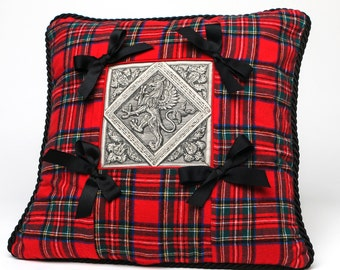 Tartan - Plaid Pillow / Cushion Cover / Red Royal Stuart Tartan with Medieval Griffin Motif