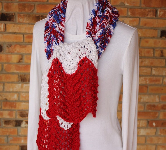 Ripple Lace Knitting Pattern : Knitting Pattern Colorwork Lace Ripple Scarf by ...