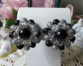 Vintage LISNER Designer Beaded Clip On Black Grey Clear Button Earrings FREE Shipping
