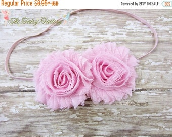 Light Pink Headband, Pink Chiffon Rosettes Duo Stretchy Headband or Hair Clip, Newborn, Baby Infant Toddler Child Girls Headband