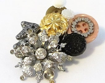 Handcrafted Jewelry, Brooch or Pin, Lapel Brooch, Handcrafted Button, Broken Jewelry, Beaded Brooch, Blinged Out Brooch, Brooch Jewelry