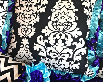 Black and White Damask Euro Sham with Double Ruffles