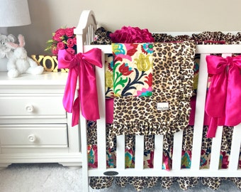 Ritzy Baby Made to Order Custom Baby Bedding, We Offer Easy Payments while we Sew your Bedding, Santa Maria & Leopard Custom Baby Bedding