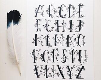 Alphabet Print - Floral Watercolor Lettering - 11 x 14