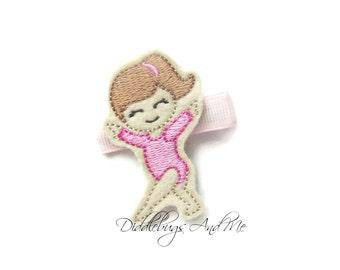 Gymnast Hair Clip, Pink Gymnastics Hair Clip, Hair Clips For Girls, Hair Clip For Gymnast, Felt Pink Gymnast Hair Clip, Girls Clip
