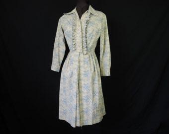toile shirtwaist dress 50s ruffle blue roses day dress tuxedo bodice The Spectator small