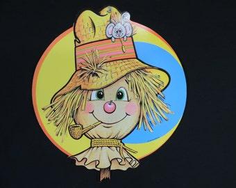 vintage Beistle scarecrow die cut 70s Halloween decoration window hanging