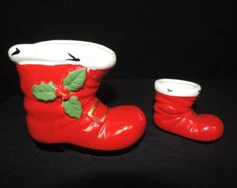 vintage Lefton red boot collection.  Christmas Santa's boot planter / decor.
