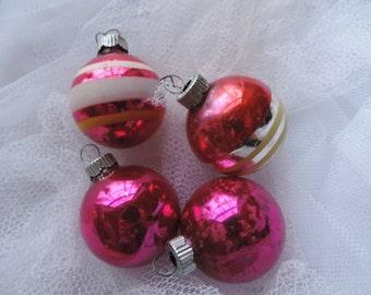 shiny brite pink christmas ornaments vintage Christmas one dozen small mercury glass balls shabby Christmas