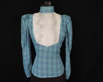 turquoise plaid blouse 70s country chic mutton sleeves pleated bib blouse medium