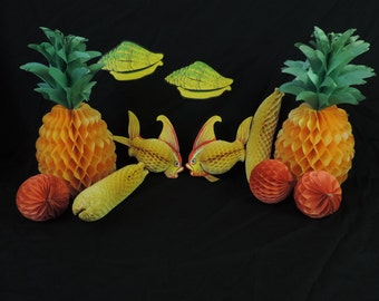 luau honeycomb decorations vintage beistle hawaiian centerpiece paper die cut beachcomber set