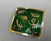 Large De Passille Sylvestre Enamel Brooch Modernist Early Design Collectible Canadian Quebec Artists