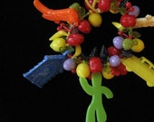 Funky Plastic Fruit and Charm Bracelet