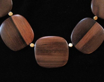 Wood Bead Necklace, Large Flat Wood Beads
