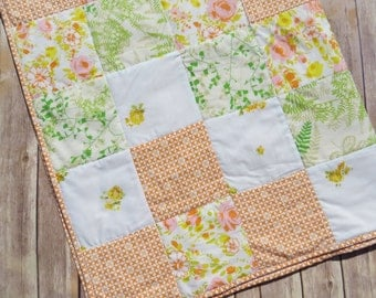 Eco Friendly Vintage Sheet Patchwork Quilt in Orange, Green, and Yellow Chevron Print