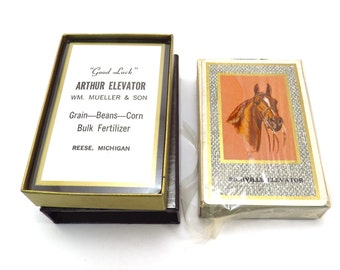 Two Elevator Feed Advertising Decks of Cards Vintage 1950s Michigan Advertising Unopened Playing Cards
