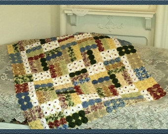 Staggered Blocks Yo Yo Quilt Throw - Yellow, Red, Blue, Green Florals With White, Hand-Tied, Lined