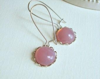 Long Pink Earrings in Silver, Pink Opal Earrings, Breast Cancer Awareness, Czech Glass Vintage Earrings, Pink Drop Earrings