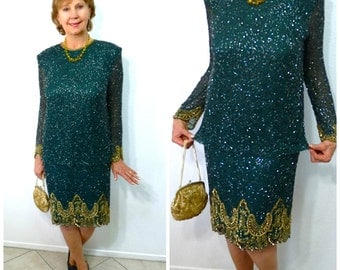 Vintage Flapper Dress Emerald Silk Beaded Seqiun 20s by Briliante Cocktail Party M