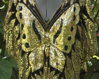 Vintage sequin butterfly top. Black and Gold, silk beaded 1970s 1980s woman's Small/Medium